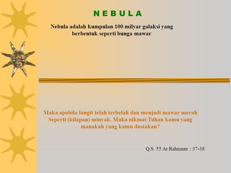 N E B U L A Nebula adalah kumpulan 100 milyar galaksi yang berbentuk seperti bunga mawar.