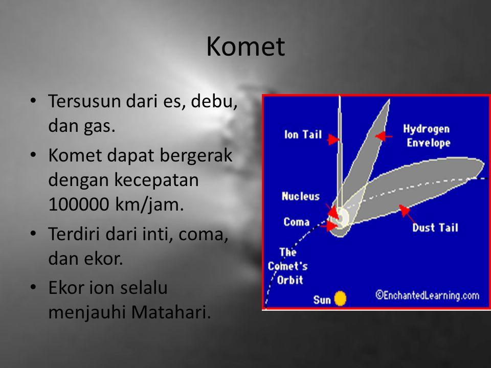 Komet Tersusun dari es, debu, dan gas.