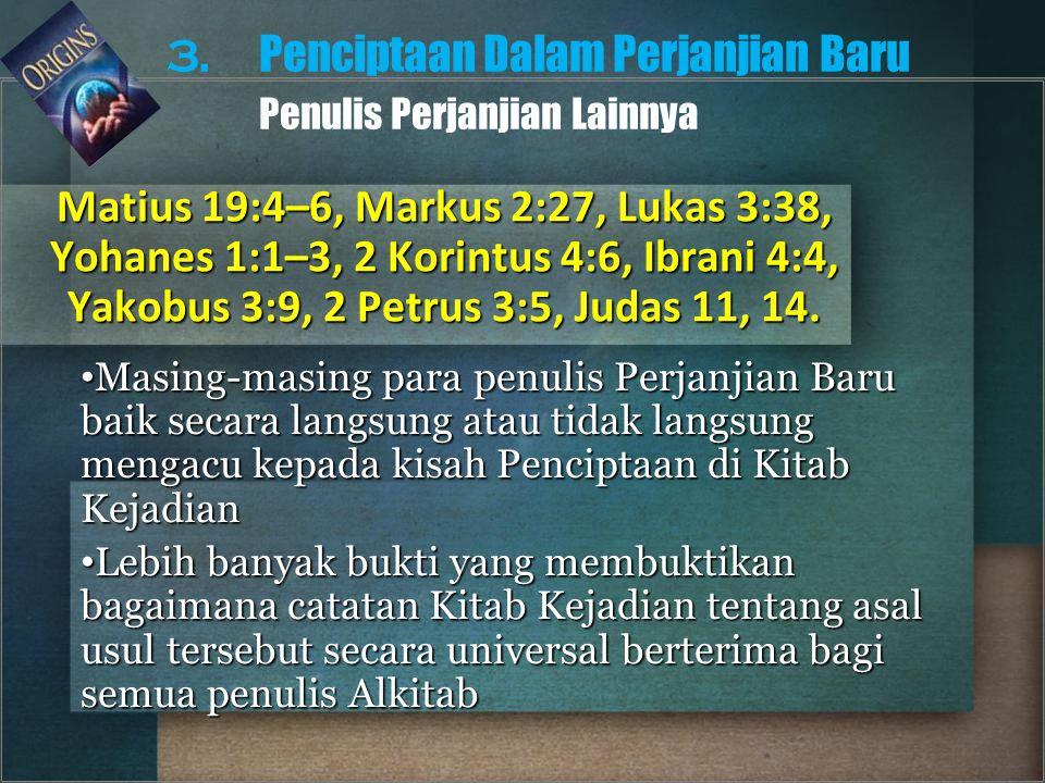3. Penciptaan Dalam Perjanjian Baru Penulis Perjanjian Lainnya