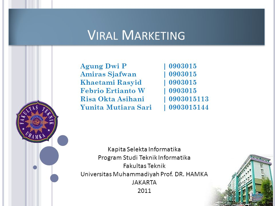 Viral Marketing Agung Dwi P | 0903015 Amiras Sjafwan | 0903015
