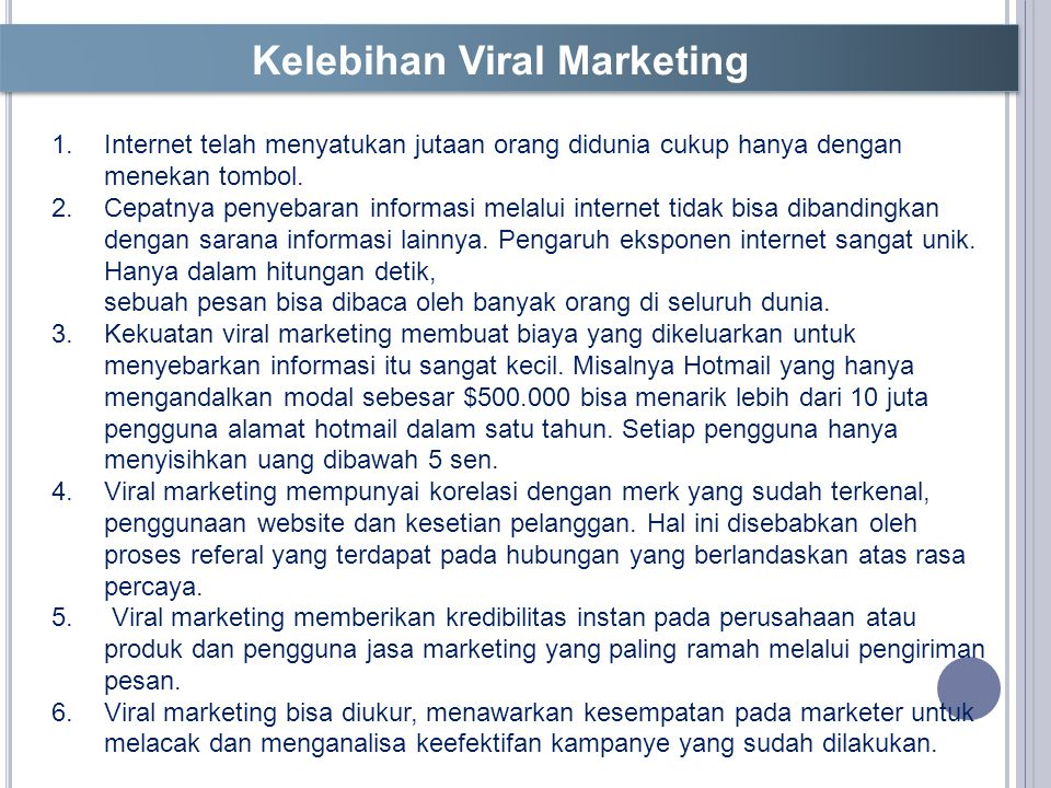 Kelebihan Viral Marketing