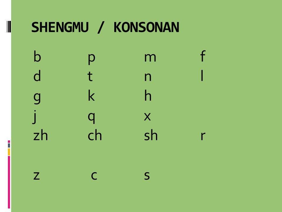 SHENGMU / KONSONAN b p m f d t n l g k h j q x zh ch sh r z c s