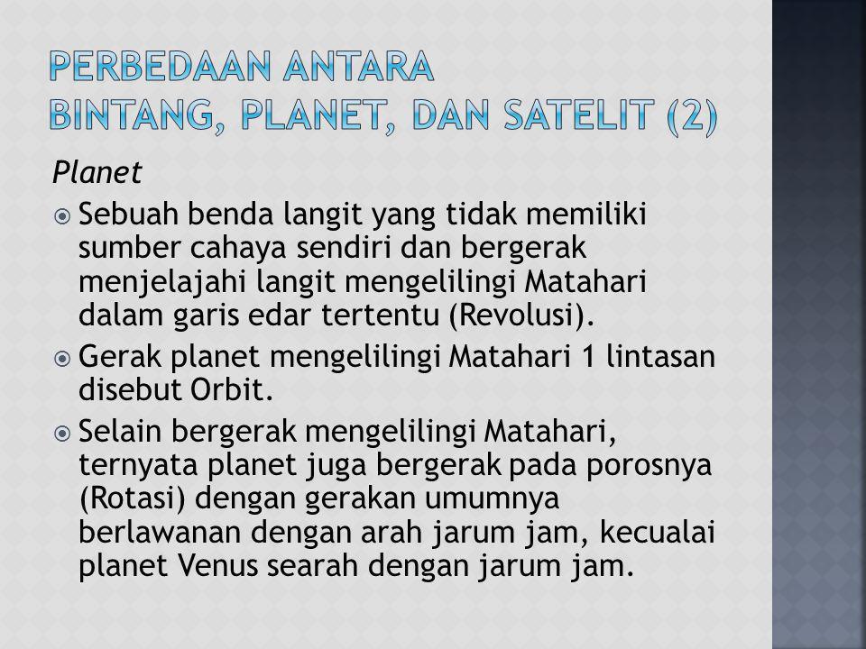 Perbedaan antara Bintang, Planet, dan Satelit (2)
