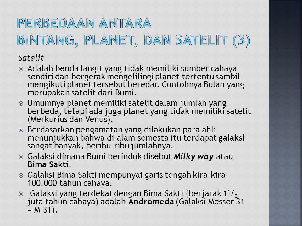 Perbedaan antara Bintang, Planet, dan Satelit (3)
