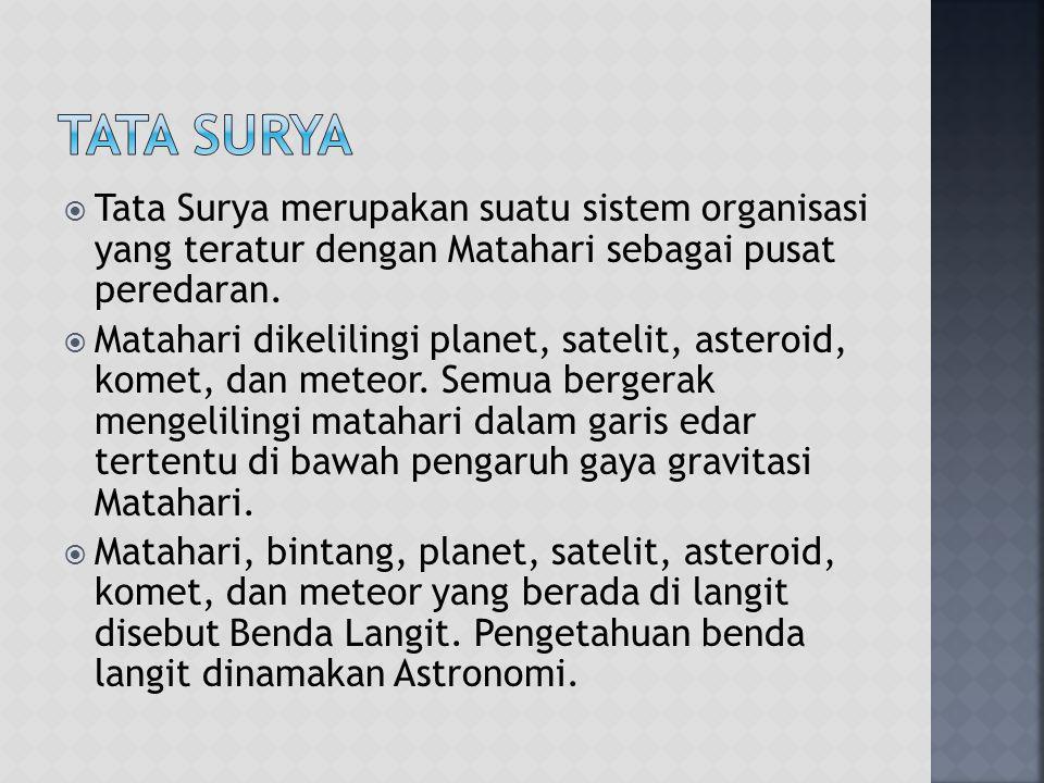 Tata Surya Tata Surya merupakan suatu sistem organisasi yang teratur dengan Matahari sebagai pusat peredaran.