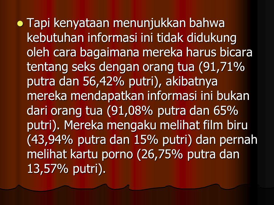 Tapi kenyataan menunjukkan bahwa kebutuhan informasi ini tidak didukung oleh cara bagaimana mereka harus bicara tentang seks dengan orang tua (91,71% putra dan 56,42% putri), akibatnya mereka mendapatkan informasi ini bukan dari orang tua (91,08% putra dan 65% putri).