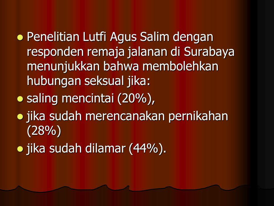 Penelitian Lutfi Agus Salim dengan responden remaja jalanan di Surabaya menunjukkan bahwa membolehkan hubungan seksual jika: