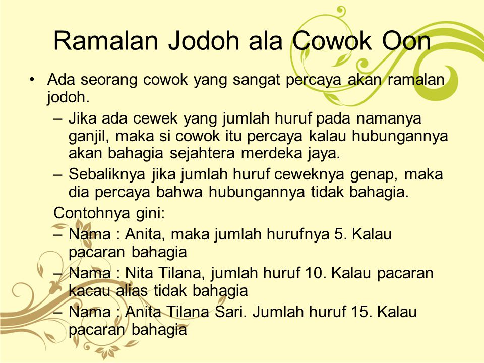 Ramalan Jodoh ala Cowok Oon