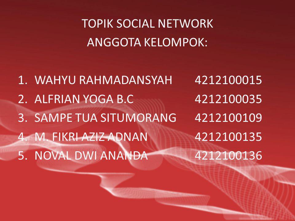 TOPIK SOCIAL NETWORK ANGGOTA KELOMPOK: WAHYU RAHMADANSYAH 4212100015. ALFRIAN YOGA B.C 4212100035.