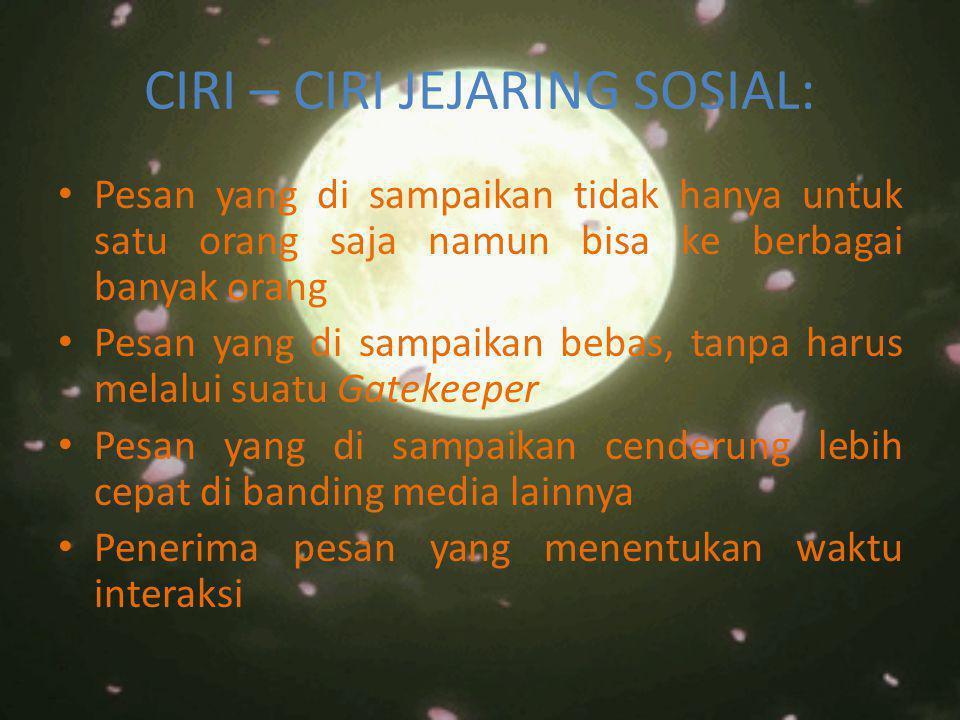 CIRI – CIRI JEJARING SOSIAL: