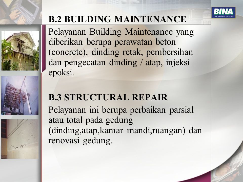 B.2 BUILDING MAINTENANCE
