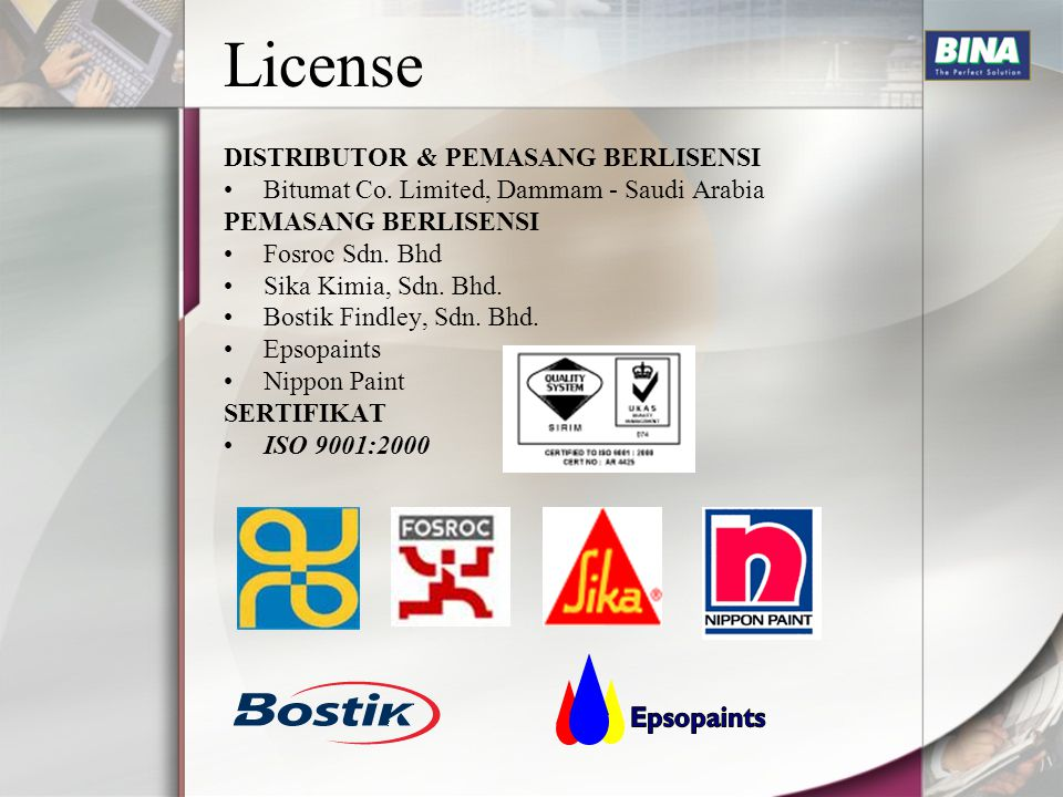 License Epsopaints DISTRIBUTOR & PEMASANG BERLISENSI