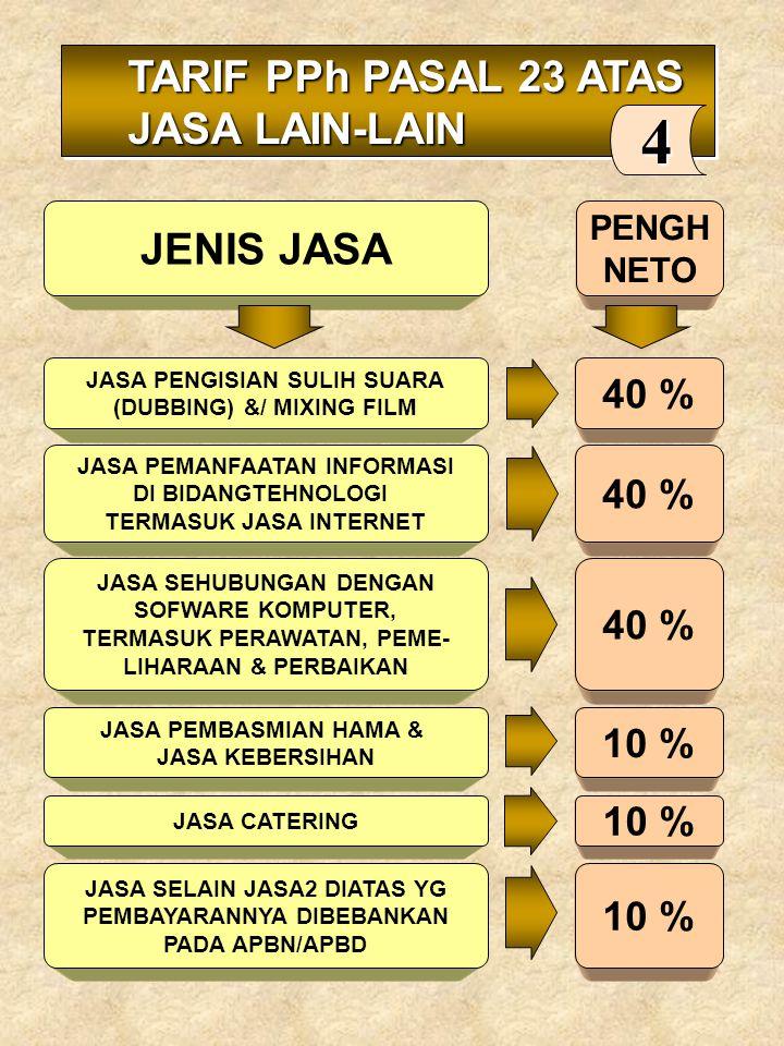 4 TARIF PPh PASAL 23 ATAS JASA LAIN-LAIN JENIS JASA JENIS JASA 40 %