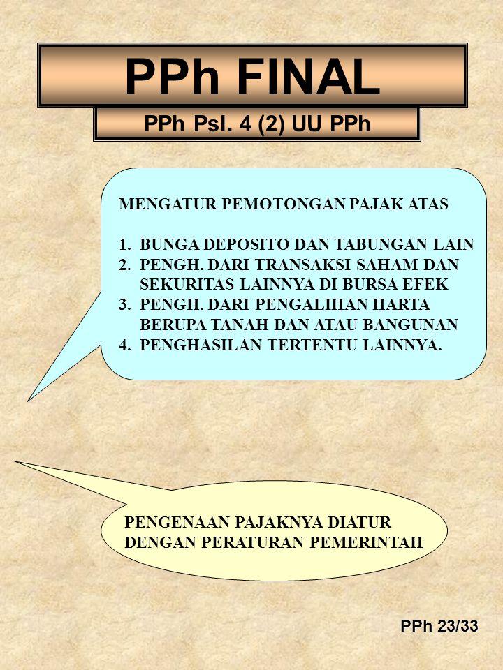 PPh FINAL PPh Psl. 4 (2) UU PPh MENGATUR PEMOTONGAN PAJAK ATAS