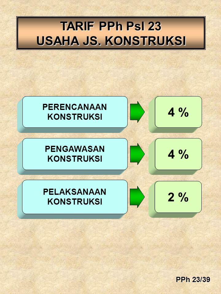 TARIF PPh Psl 23 USAHA JS. KONSTRUKSI 4 % 10% 4 % 2 %