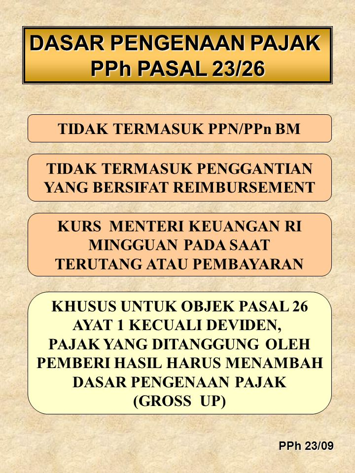 DASAR PENGENAAN PAJAK PPh PASAL 23/26