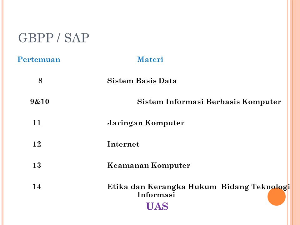 GBPP / SAP UAS Pertemuan Materi 8 Sistem Basis Data