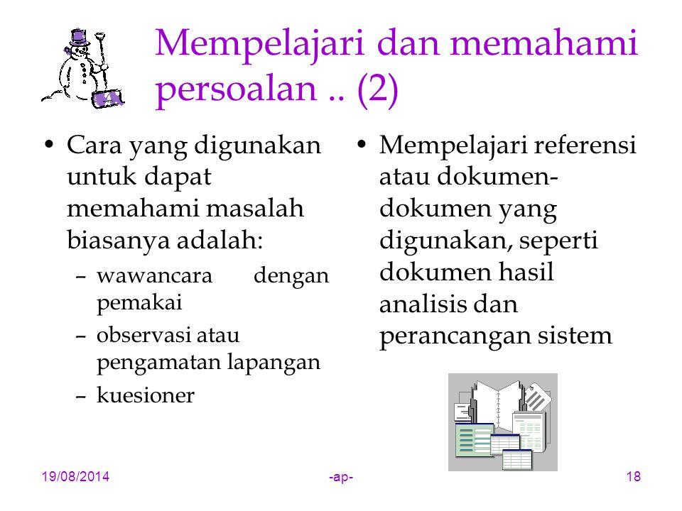 Mempelajari dan memahami persoalan .. (2)