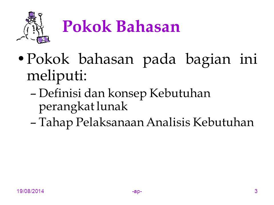 Pokok Bahasan Pokok bahasan pada bagian ini meliputi: