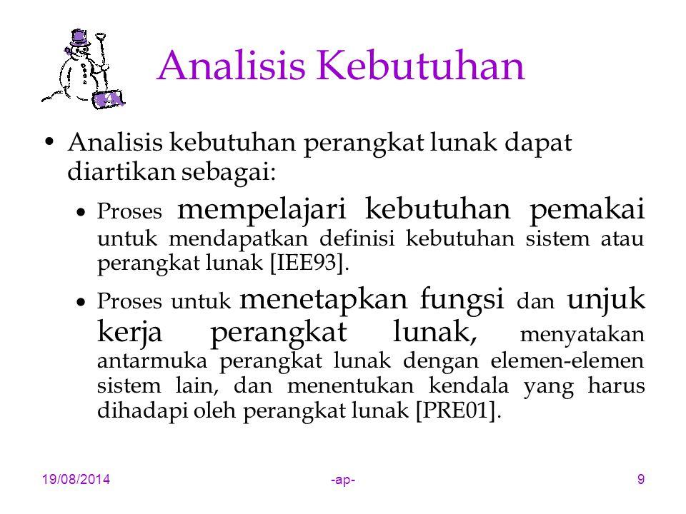Analisis Kebutuhan Analisis kebutuhan perangkat lunak dapat diartikan sebagai: