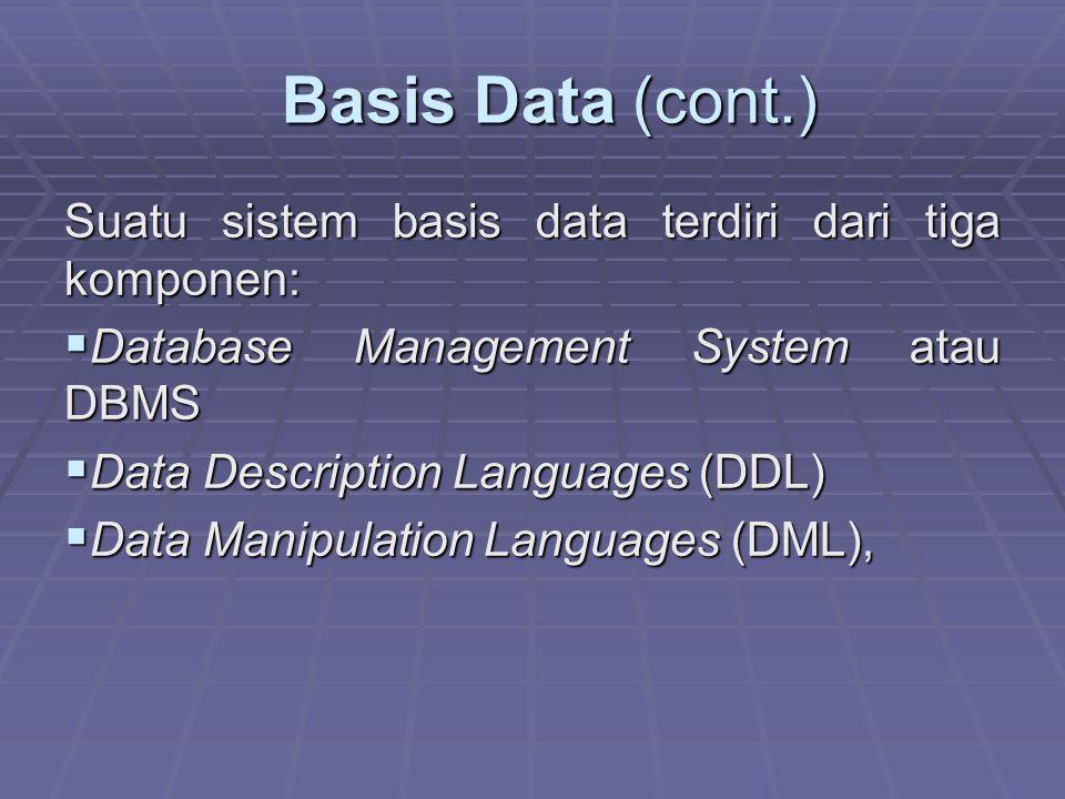 Basis Data (cont.) Suatu sistem basis data terdiri dari tiga komponen: