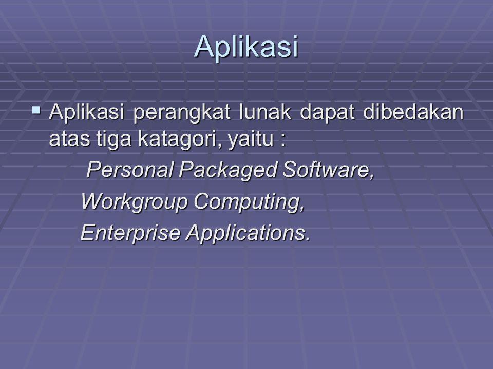 Aplikasi Aplikasi perangkat lunak dapat dibedakan atas tiga katagori, yaitu : Personal Packaged Software,