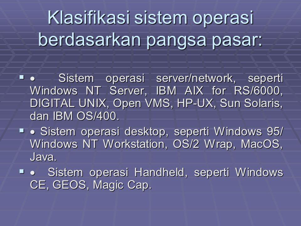 Klasifikasi sistem operasi berdasarkan pangsa pasar: