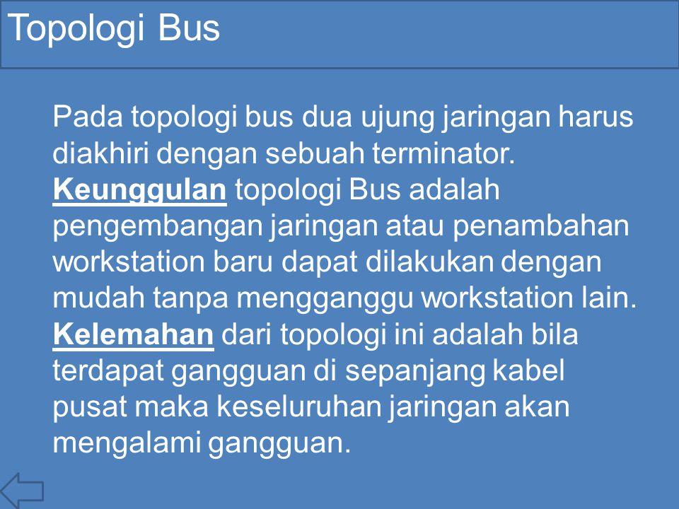 Topologi Bus Pada topologi bus dua ujung jaringan harus diakhiri dengan sebuah terminator.