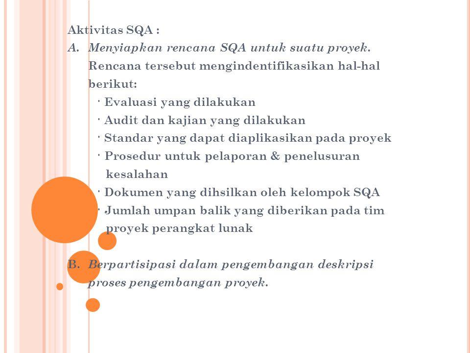 Aktivitas SQA : A. Menyiapkan rencana SQA untuk suatu proyek. Rencana tersebut mengindentifikasikan hal-hal.