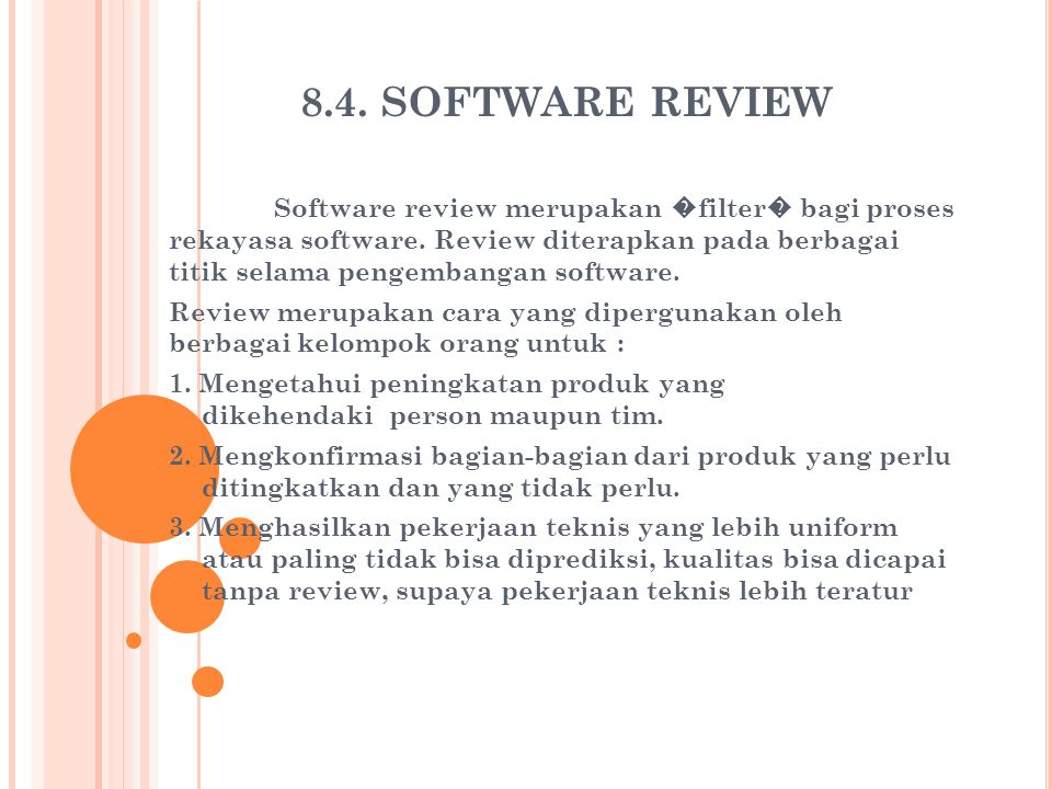 8.4. SOFTWARE REVIEW