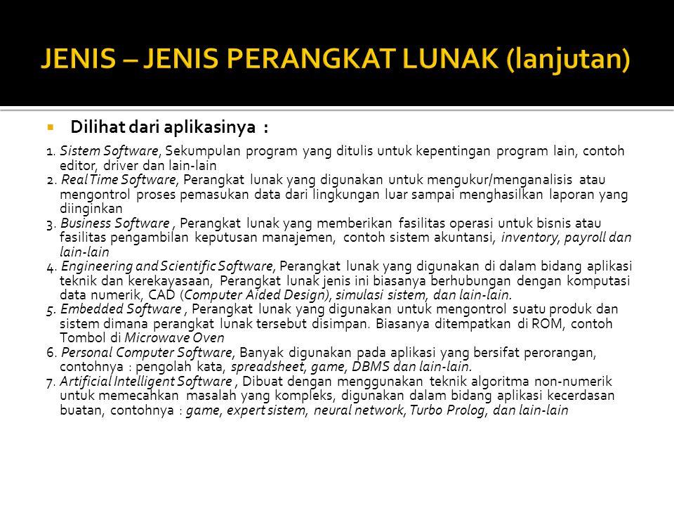 JENIS – JENIS PERANGKAT LUNAK (lanjutan)