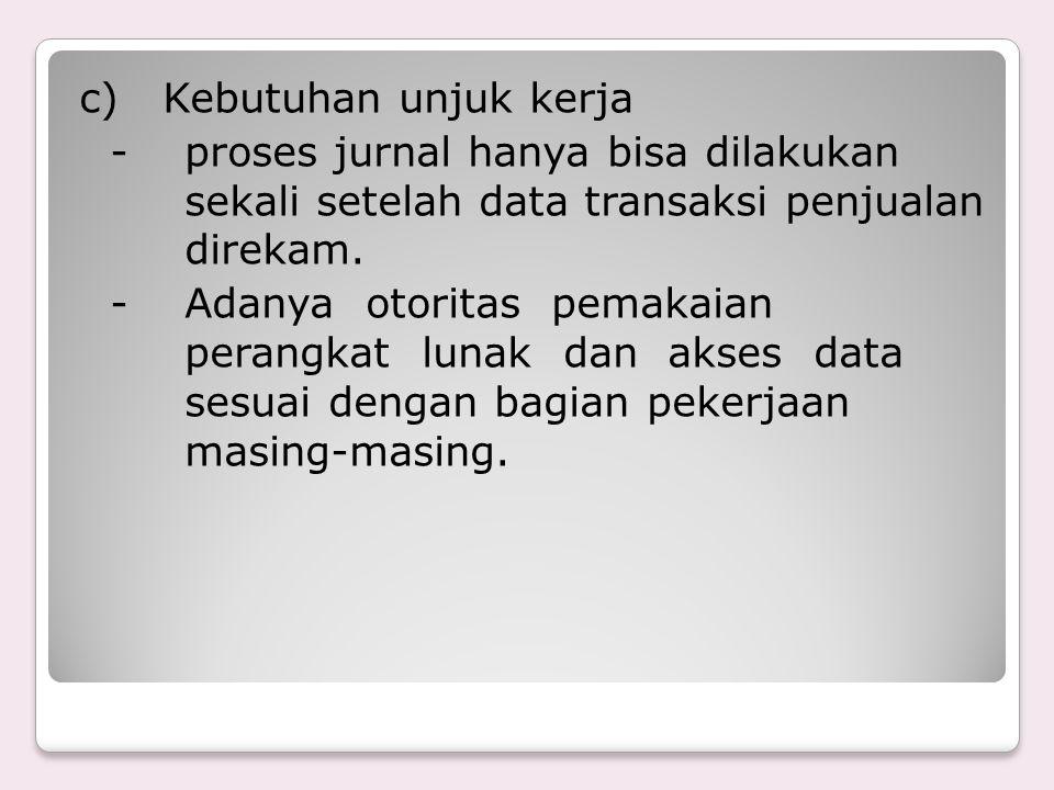 c) Kebutuhan unjuk kerja - proses jurnal hanya bisa dilakukan sekali setelah data transaksi penjualan direkam.