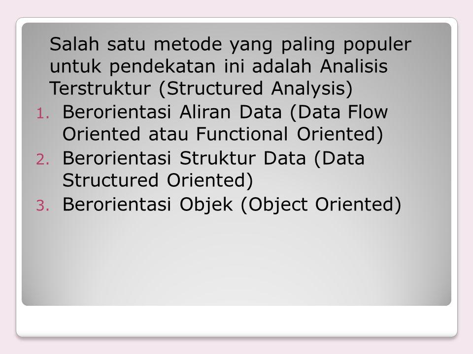 Salah satu metode yang paling populer untuk pendekatan ini adalah Analisis Terstruktur (Structured Analysis)