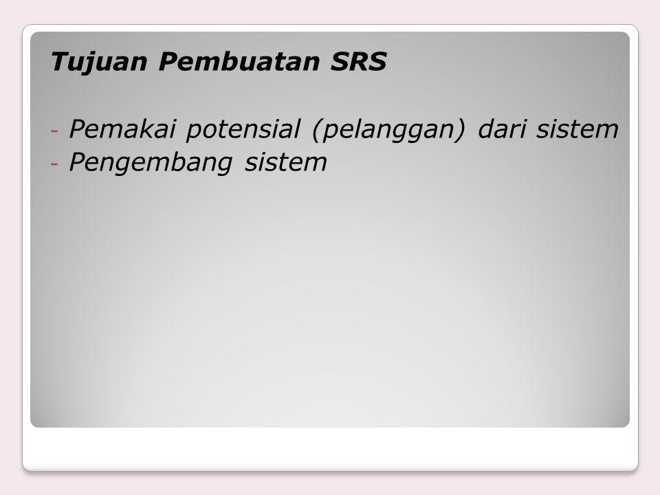 Tujuan Pembuatan SRS Pemakai potensial (pelanggan) dari sistem Pengembang sistem