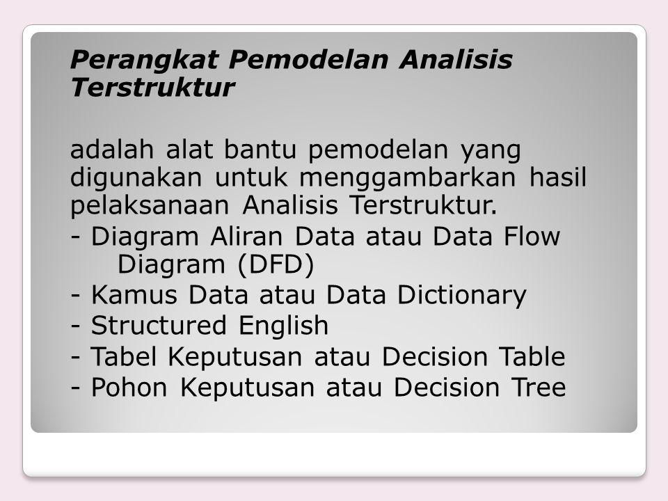 Perangkat Pemodelan Analisis Terstruktur adalah alat bantu pemodelan yang digunakan untuk menggambarkan hasil pelaksanaan Analisis Terstruktur.