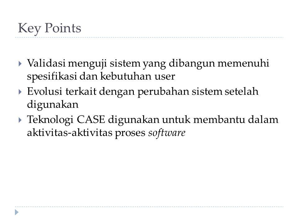 Key Points Validasi menguji sistem yang dibangun memenuhi spesifikasi dan kebutuhan user.