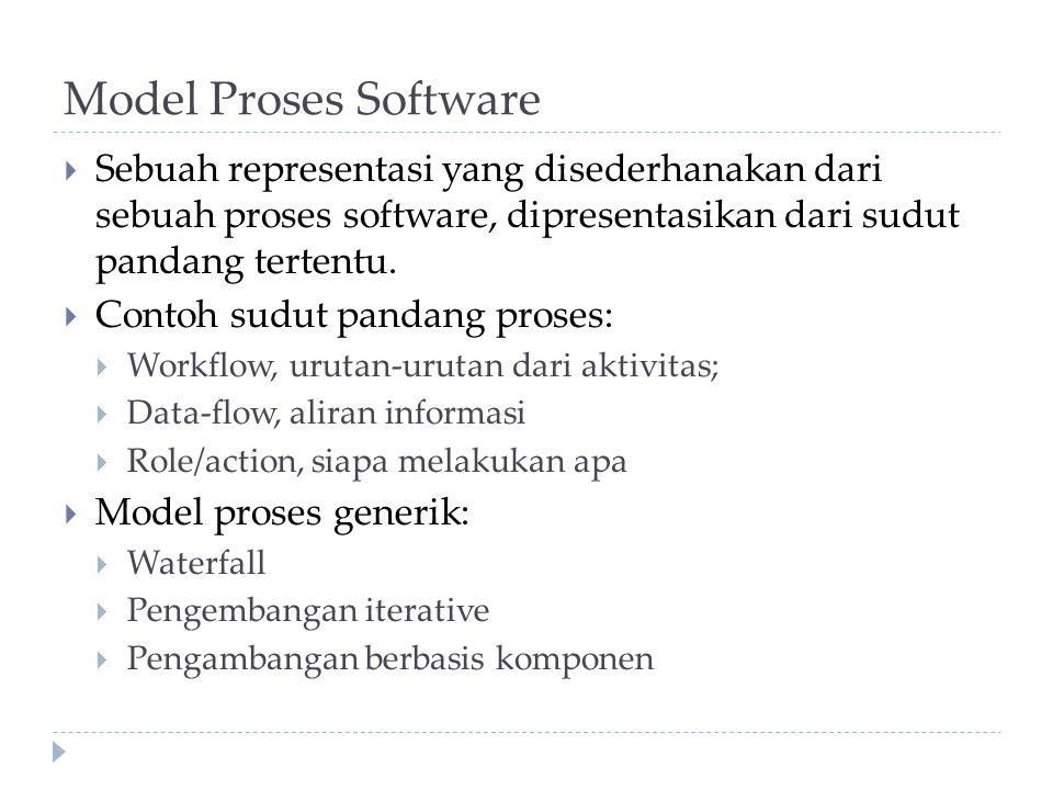 Model Proses Software Sebuah representasi yang disederhanakan dari sebuah proses software, dipresentasikan dari sudut pandang tertentu.