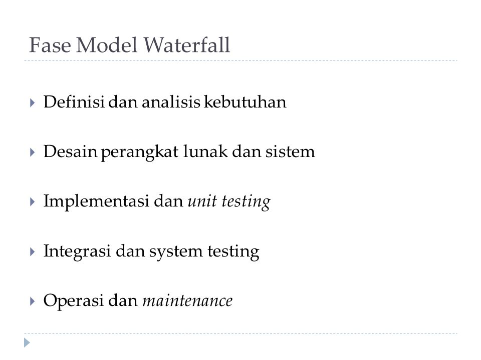 Fase Model Waterfall Definisi dan analisis kebutuhan