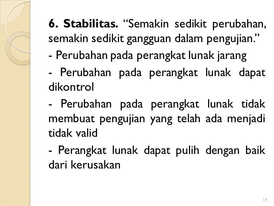 6. Stabilitas. Semakin sedikit perubahan, semakin sedikit gangguan dalam pengujian.