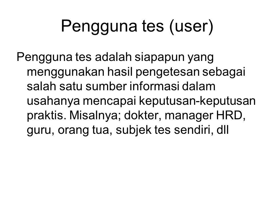 Pengguna tes (user)