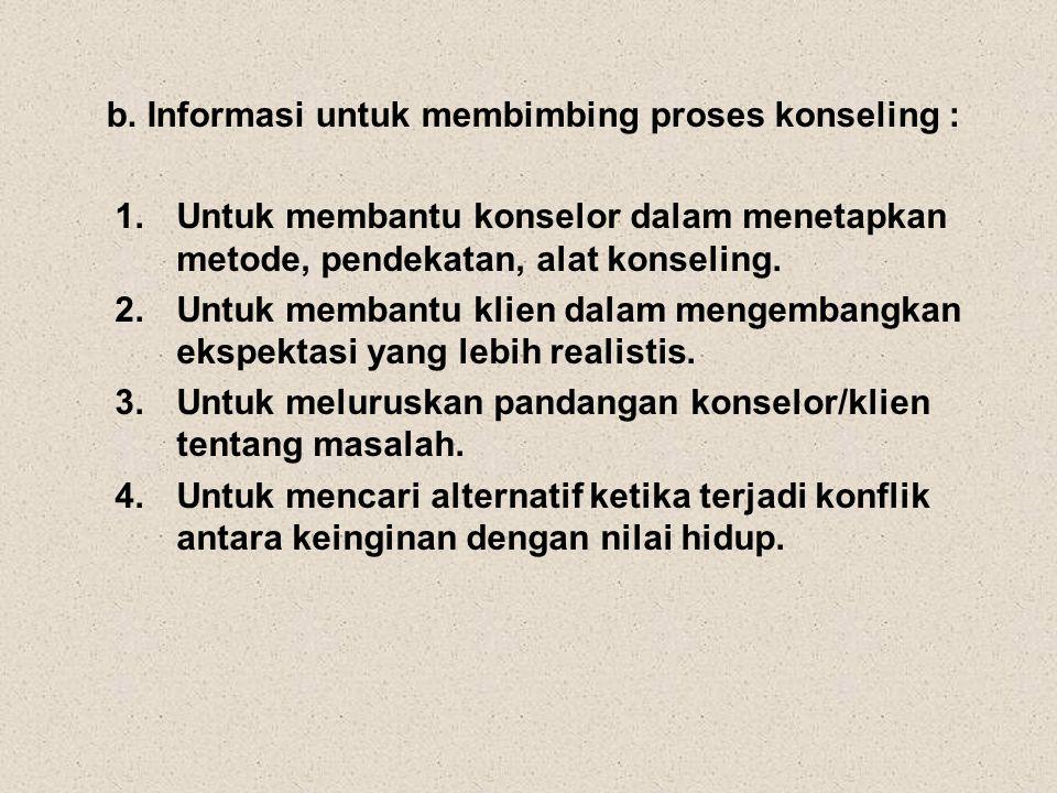 b. Informasi untuk membimbing proses konseling :