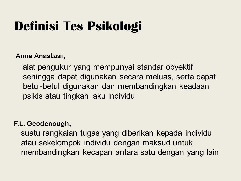 Definisi Tes Psikologi