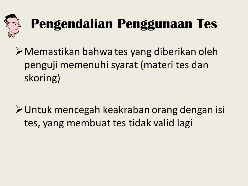 Pengendalian Penggunaan Tes