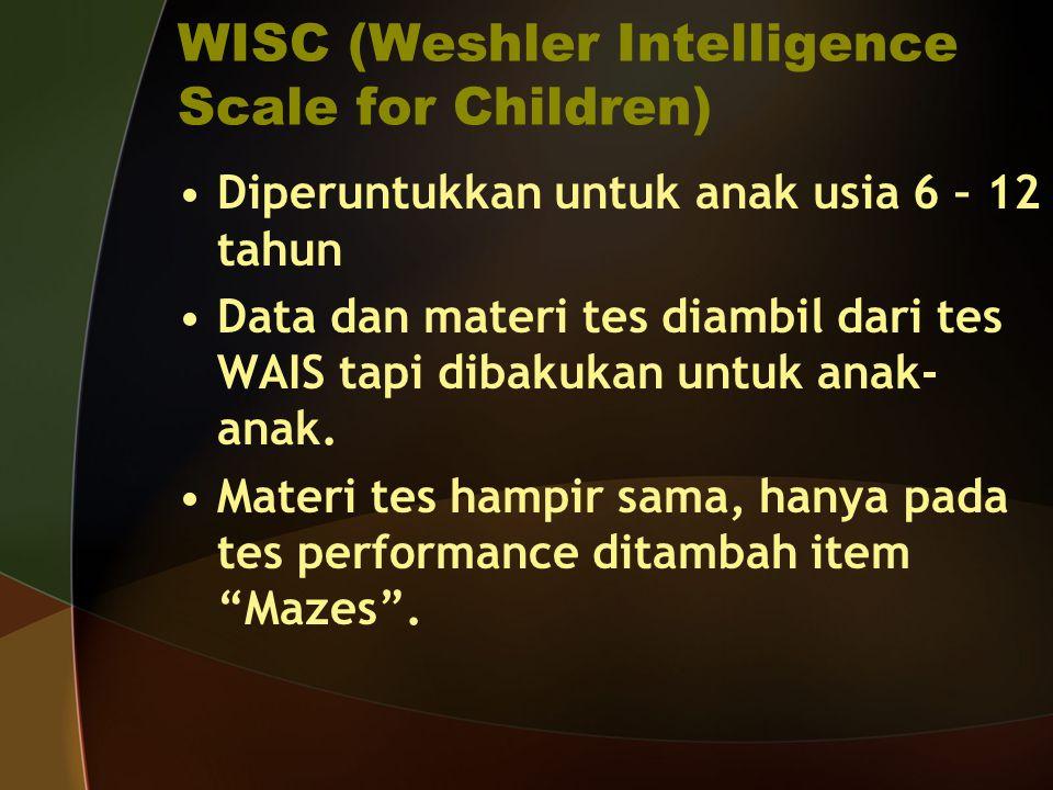 WISC (Weshler Intelligence Scale for Children)
