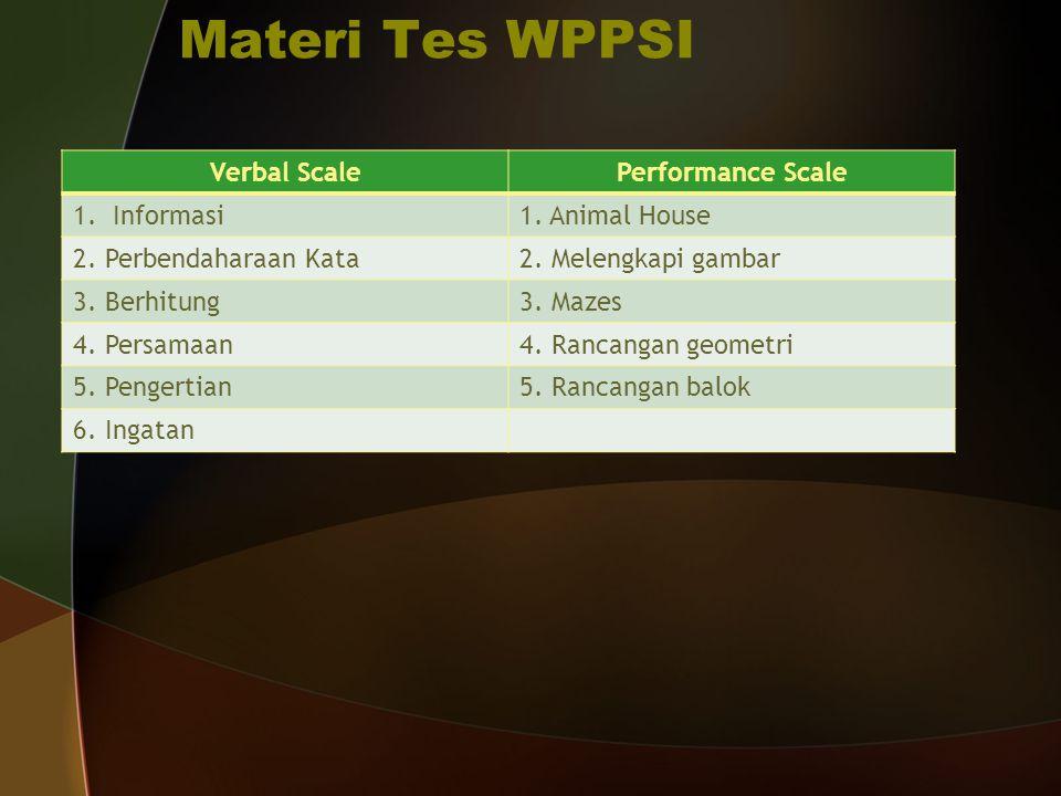 Materi Tes WPPSI Verbal Scale Performance Scale Informasi