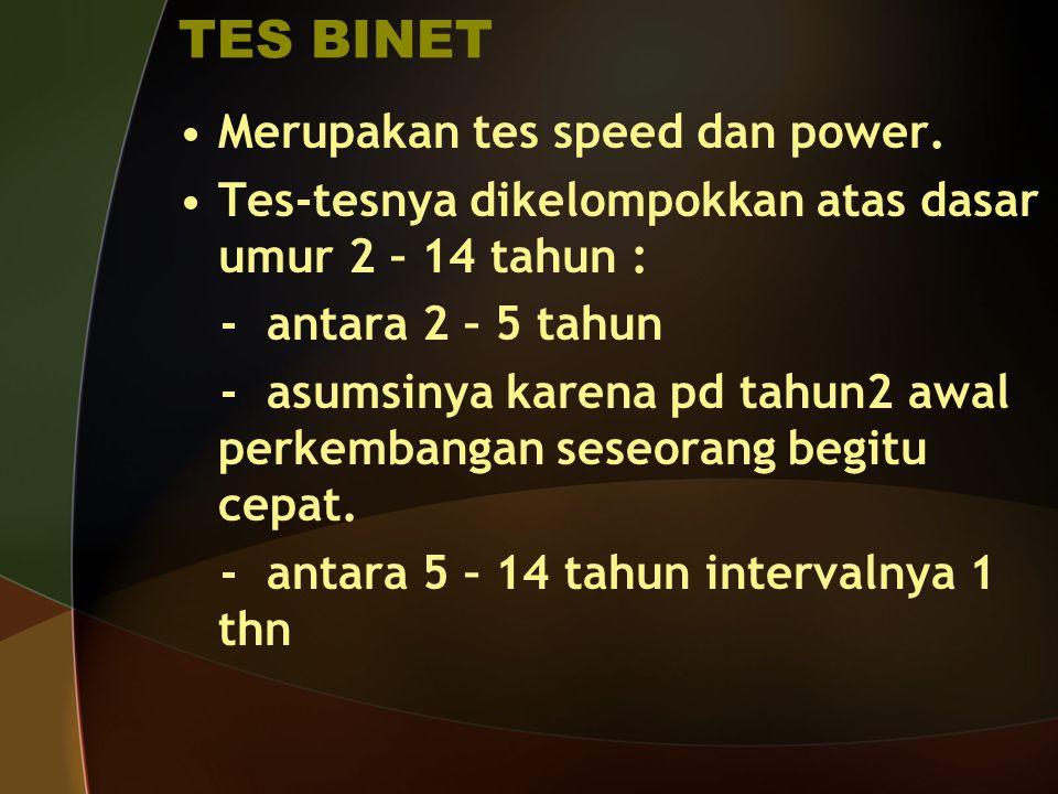 TES BINET Merupakan tes speed dan power.