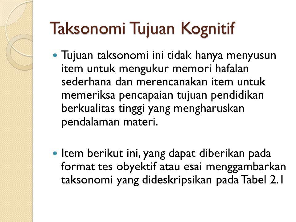 Taksonomi Tujuan Kognitif