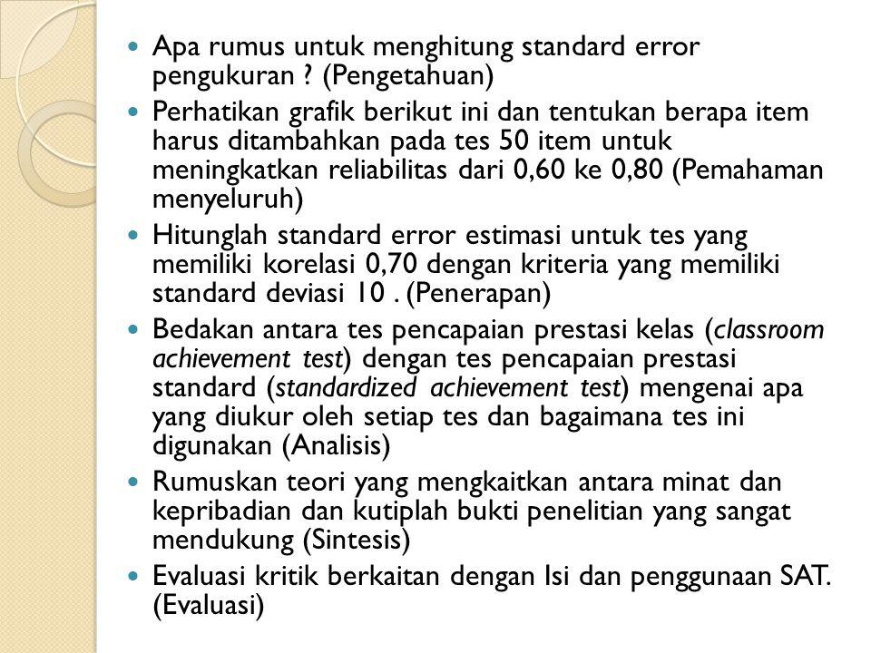 Apa rumus untuk menghitung standard error pengukuran (Pengetahuan)