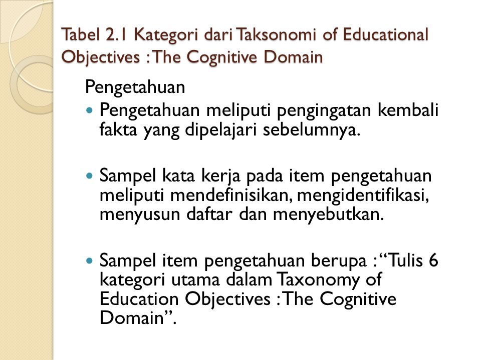 Tabel 2.1 Kategori dari Taksonomi of Educational Objectives : The Cognitive Domain