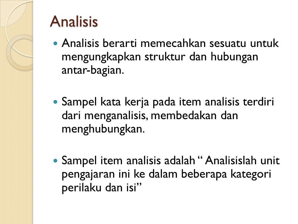 Analisis Analisis berarti memecahkan sesuatu untuk mengungkapkan struktur dan hubungan antar-bagian.